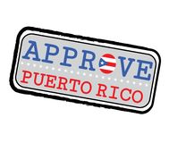 Vector Stamp for Approve logo with Puerto Rico Flag in the shape of O and text Puerto Rico royalty free stock photo