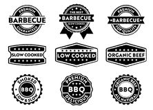 Vector stamp badge label for marketing selling barbecue product, premium beef, slow low cooked, organic, premium top quality. This stamp badge label is perfect vector illustration