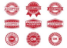 Vector stamp badge label for approved, accepted, passed, granted document mark. This vector stamp badge label is perfect suitable for approved, accepted, passed Royalty Free Stock Images