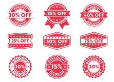 Vector stamp badge label for discount mark, off priced, marketing, selling, with various number. This vector stamp badge label is perfect suitable for discount Royalty Free Stock Photo