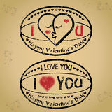 Vector: Stamp happy valentine\'s day and love Stock Image