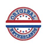 Vector Stamp for Original logo with text Netherlands and Tying in the middle with nation Flag royalty free stock images