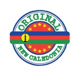 Vector Stamp for Original logo with text New Caledonia and Tying in the middle with nation Flag royalty free stock photography