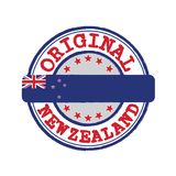 Vector Stamp for Original logo with text New Zealand and Tying in the middle with nation Flag. stock photos