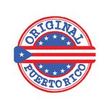 Vector Stamp for Original logo with text Puerto Rico and Tying in the middle with nation Flag stock photo