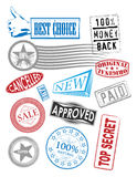 Vector stamps with various tags Stock Image