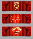 Vector Stand-up comedy show open mic night banners stock illustration
