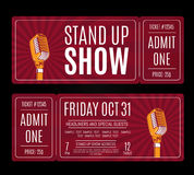 Vector stand up show tickets with retro microphone on sunburst background Stock Photography