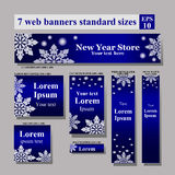 Vector standard size web banners snowflakes stock illustration