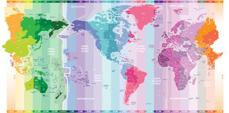 Vector standard time zones of the world political map centered by America Royalty Free Stock Photos