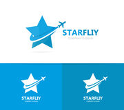 Vector of star and airplane logo combination. Unique leader and travel logotype design template. Vector logo or icon design element for companies stock images