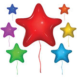 Vector Star Balloon. Color set. Set of shiny vector star balloons with strings: red, green, blue, purple, orange, yellow. on white background stock illustration