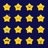 Vector star emoticons collection. Cute emoji set Stock Image