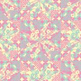 Vector star patchwork seamless repeat pattern in pink green and yellow stock illustration