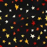 Vector star pattern. Colorful star pattern in cartoon style. Star pattern on dark night background. Modern star pattern. Royalty Free Stock Photos
