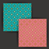 Vector Star Tile Seamless Pattern with Gold Foil Stamp Effect Stock Photos