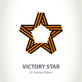 Vector Star for Victory Day made of St. George ribbon. Isolated Royalty Free Stock Images