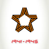 Vector Star for Victory Day made of St. George ribbon and the ye. Ars of the great Patriotic war vector illustration