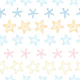 Vector starfish colorful line art frame seamless Stock Images