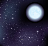 Vector starry sky and moon Stock Image