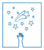 Vector stars. A hand trying to reach stars Stock Photos