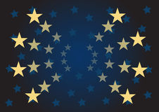 Vector stars background. Vector yellow and blue stars over dark background Vector Illustration