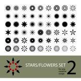 Vector stars flowers set Stock Photography