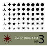 Vector stars flowers set Royalty Free Stock Photography
