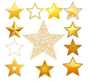 Vector stars. Golden stars - vector illustration, fully editable, you can change form and color Stock Image
