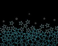 Vector stars over black background. Vector stars in color from turquoise to white from the bottom Royalty Free Stock Photography