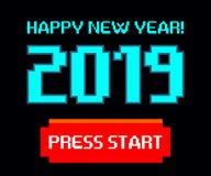 Vector 2019, start, happy new year, Game, pixel stock image