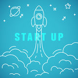 Vector start up concept in linear style Royalty Free Stock Photo