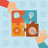 Vector start up success. Puzzle peaces with icons and signs Royalty Free Stock Photo