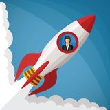 Vector startup business concept with businesswoman in space rocket window Stock Images