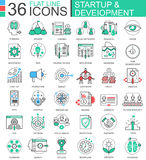 Vector Startup and development modern color flat line outline icons for apps and web design. Vector Startup and development modern color flat line outline icons Royalty Free Stock Photography