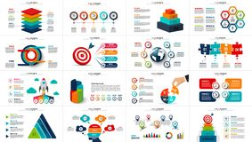 Vector startup infographics, diagram chart, graph and presentation. Business report with 4, 5, 6 and 7 options, parts, steps processes. Puzzle, circles target vector illustration