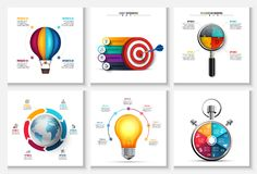 Vector startup, research, creative, earth and time infographics. Business report with 4, 5, 6 and 7 options, parts, steps processes Balloon bulb target Royalty Free Stock Photo