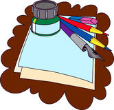 Vector stationery. Several office things are on paper's sheet Stock Image