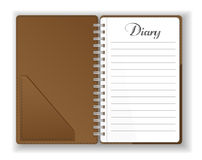 Vector. Stationery. An open pocket diary - notebook - scrapbook -textbook - notepad - organizer - journal. Isolated illustration. Stock Photo