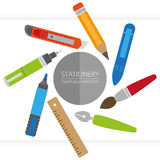 Vector stationery set in flat style. Elements for design, EPS 8 Royalty Free Stock Images