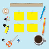 Vector of stationery set on the table Royalty Free Stock Photo