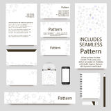 Vector stationery template design with chemistry molecules ornament. INCLUDES SEAMLESS PATTERN. Stock Photo