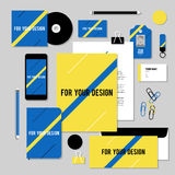 Vector stationery template design with diagonal line. Corporate identity business set design. Vector stationery template design with diagonal line. Documentation Royalty Free Stock Images