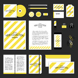 Vector stationery template design with diagonal lines. Corporate identity business set design. Vector stationery template design with diagonal lines Stock Photography