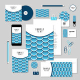 Vector stationery template design with Fish Or Snake Scales. Corporate identity business set design. Vector stationery template design with Fish Or Snake Scales Stock Image