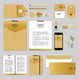 Vector stationery template design with Gold Fish Or Snake Scales. Corporate identity business set design. Vector stationery template design with Gold Fish Or Royalty Free Stock Photos