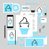 Vector stationery template design with ice-cream elements. Corporate identity business set design. Vector stationery template design with ice-cream elements Stock Photos