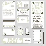 Vector stationery template design with Islamic Moroccan ornament. INCLUDES SEAMLESS PATTERN. Royalty Free Stock Photos