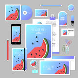 Vector stationery template design with watermelon elements. Corporate identity business set design. Vector stationery template design with watermelon elements Stock Images