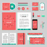 Vector stationery template design with watermelon elements. Corporate identity business set design. Vector stationery template design with watermelon elements Royalty Free Stock Photos